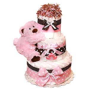 Modern Pink Bear Diaper Cake