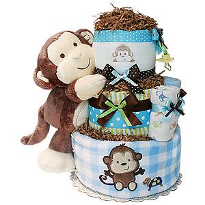 Peek-A-Boo Monkey Diaper Cake