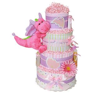 Pink Baby Dragon Diaper Cake
