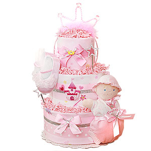 Pink Castle Princess Diaper Cake