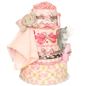 Grey and Pink Elephant Diaper Cake