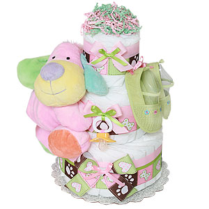 Pink Girl Puppy Diaper Cake