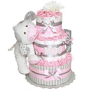 MOO! Cow Diaper Cake