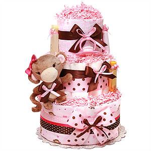 Pink Rattle Monkey Girl Diaper Cake