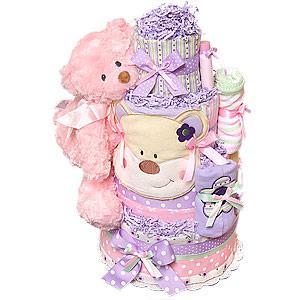 Green Pink Purple Bear Diaper Cake