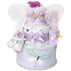 Purple Lavender and Green Butterfly Diaper Cake