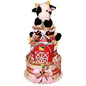 Farm Cow Custom Diaper Cake