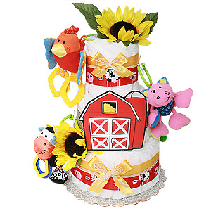 Farm Animals Red Barn Diaper Cake