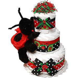 Red and Black LadyBug Diaper Cake