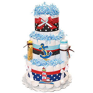 Lighthouse Nautical Diaper Cake in Brown