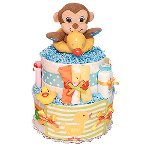 Rubber Duck Monkey Diaper Cake