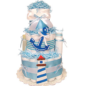 Lighthouse Nautical Diaper Cake