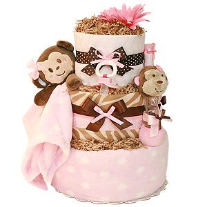 Little Girl Monkey Diaper Cake