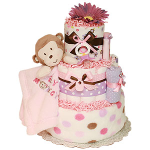 Silly Girl Monkey Diaper Cake