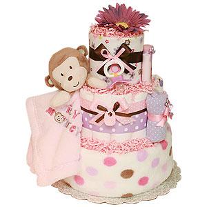 Silly Girl Monkey Diaper Cake