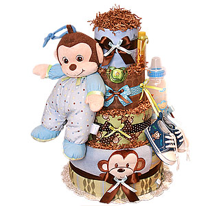 Jungle Blanket Monkey Diaper Cake for a Boy
