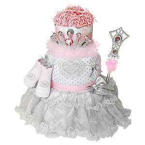Pink and Silver Princess Diaper Cake