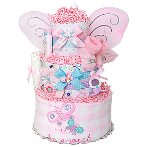 So Sweet Pink and Blue Butterfly Diaper Cake
