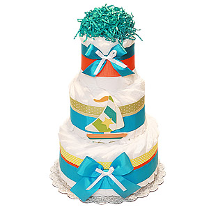 Decoration Teal Sail Boat Nautical Diaper Cake