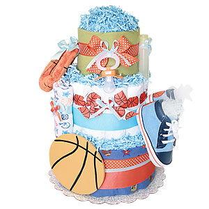 Basketball Sport Diaper Cake for a Boy
