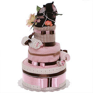 Modern Pink and Brown Diaper Cake