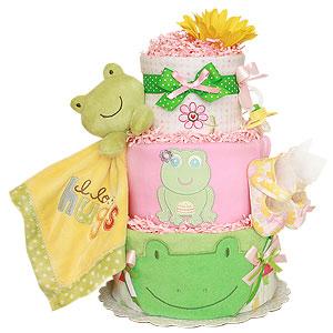 Summer Pink Frog Diaper Cake