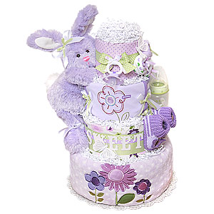 Sweet Purple Bunny Butterfly Diaper Cake