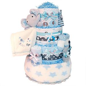 Blue and Grey Elephant Diaper Cake