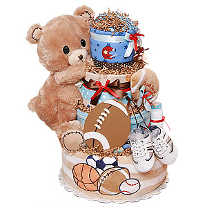 Football Bear Diaper Cake
