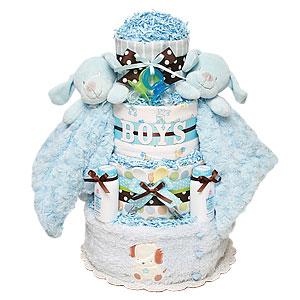 Twins Boys Puppies Diaper Cake
