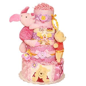Girl Winnie The Pooh Pink Diaper Cake