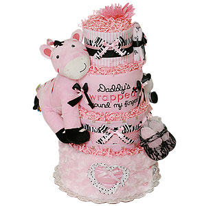 Daddy's Girl Zebra Diaper Cake