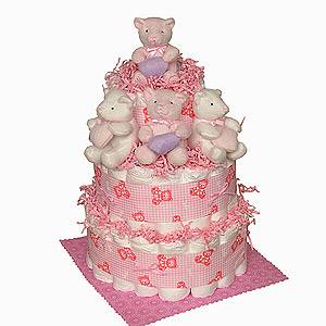 Diaper Cake with Pink Musical Mobile