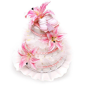 Pink Booties Diaper Cake