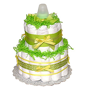 Green Yellow Diaper Cake