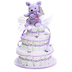 Lavender Kangaroo with her baby Diaper Cake