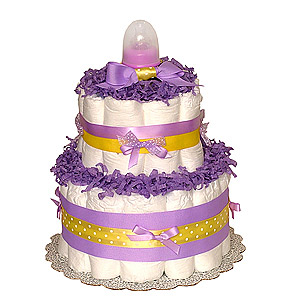 Lavender Yellow Diaper Cake