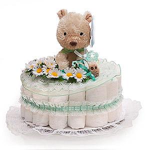 Cute Green Little Bear Diaper Cake