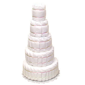 Undecorated 5 Tier Diaper Cake