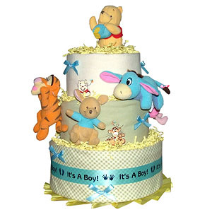 POOH Diaper Cake with Blue Musical Mobile